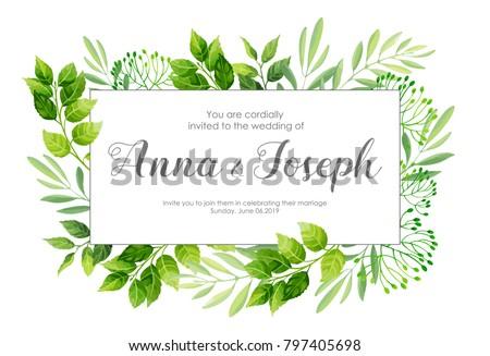 Wedding Invitation Green Leaves Border Vector Stock Vector Royalty