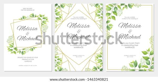 Wedding Invitation Green Leaves Border Floral Stock Vector