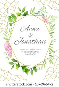 Wedding invitation. Green leaves and flowers geometric frame. Floral background. Vector illustration.
