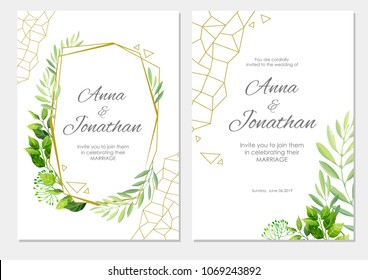 Wedding invitation with green leaves  and geometric border. Floral invite modern card template set. Vector illustration.