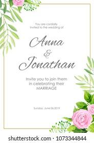 natural botanical wedding invitation invite save のベクター画像素材