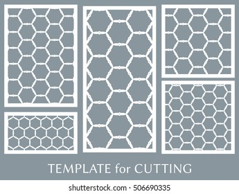 Wedding invitation, Greeting card and Business card template set. Cut out paper cards with lace pattern. Ornate geometric card for laser cutting. Vector line backgrounds collection