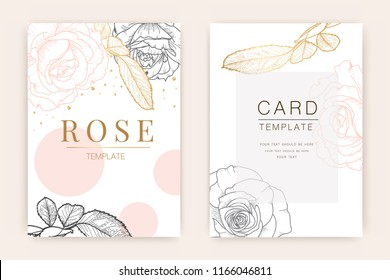 Wedding Invitation/ Greeting card , floral invite, Thank you, rsvp, Modern card design with  gold and rose flower line art, Vector illustration Template.
