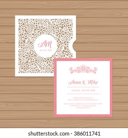 Wedding invitation or greeting card with flower ornament. Cut laser square envelope template. Wedding invitation envelope for laser cutting. Vector illustration.