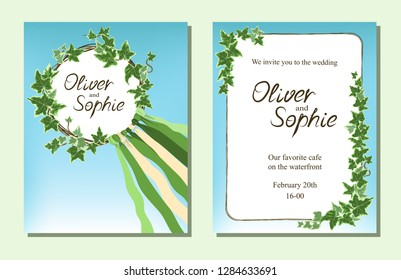 Wedding invitation or greeting card with ivy leaves and satin ribbons on a blue background. Vector