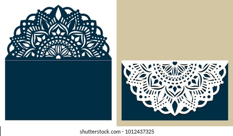 Wedding invitation or greeting card with mandala lace ornament. Die cut paper lace envelope. Wedding invitation envelope template for laser cutting. Islam, Arabic, Indian, ottoman motifs. Vector.