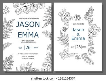 Wedding invitation or greeting card template. Minimalistic design with floral elements hand drawn on a white background. Vector