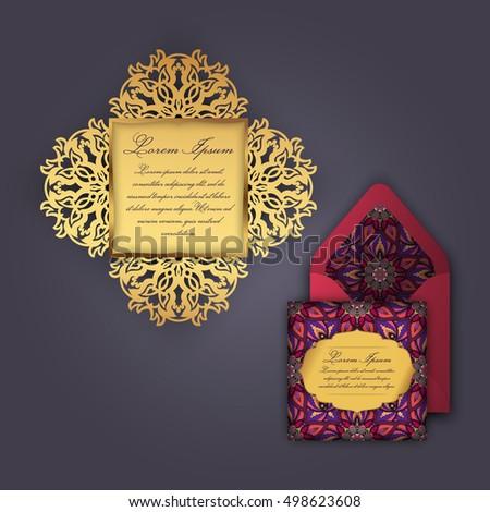 wedding invitation greeting card vintage floral stock vector