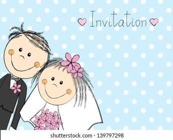 Wedding invitation with happy couple