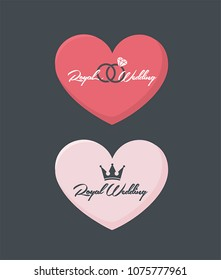 Wedding invitation icon in the form of a heart. On the card there is a crown, wedding rings and text: Royal Wedding.