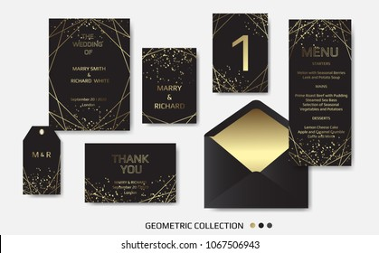 Wedding Invitation, invite card design with Geometrical art lines, gold foil border, frame. Vector modern geometric abstract template layout.