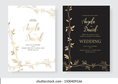 Wedding invitation. Invite card design, gold foil border. Golden foil print pattern of branch. White and dark version. Vector elegant template