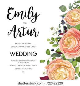 Wedding Invitation, invite card Design with watercolor hand drawn pink, peach rose ranunculus flower privet blue berry,eucalyptus, fern leaf bouquet, lovely frame border. Vector floral garden template