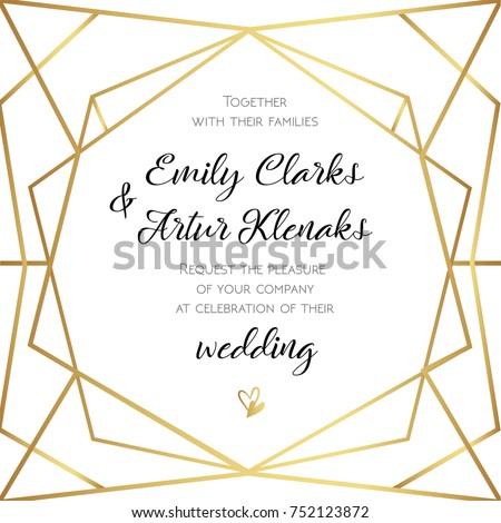 Wedding Invitation Invite Card Design Geometrical Image Vectorielle