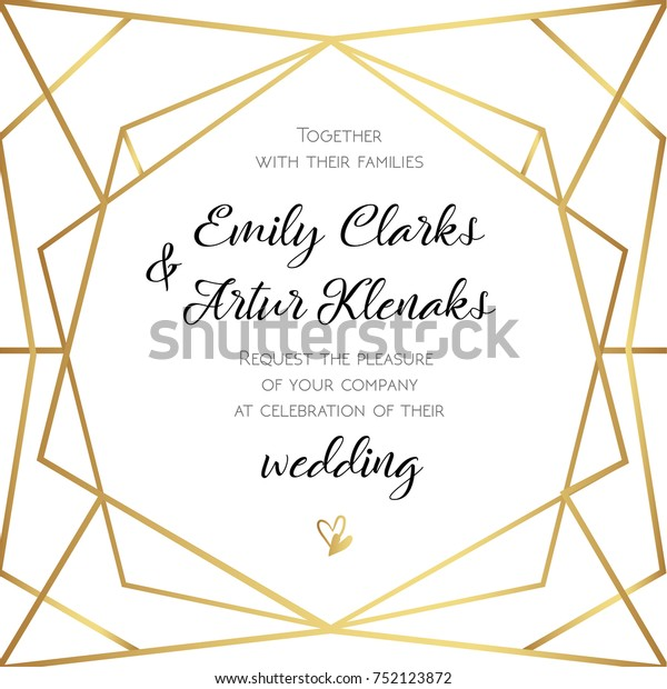 Wedding Invitation Invite Card Design Geometrical Stock