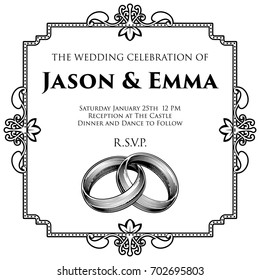A wedding invitation invite save the day template featuring intertwined rings or bands in a vintage retro engraved woodcut etching style
