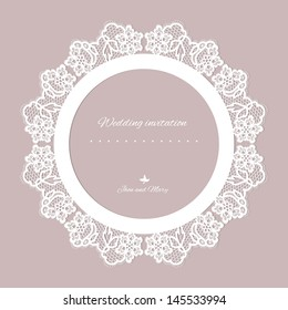 Wedding invitation. Lace background with a place for text. Vintage lace vector design realistic