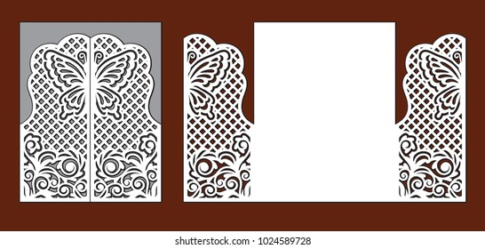 Wedding invitation with lace decor. Envelope for greeting card with fairy butterfly, floral ornament and grid. Laser cutting template for party. Openwork vector silhouette of fold gate.