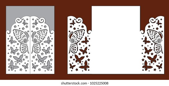 Wedding invitation with lace decoration, beautiful butterflies and stars. Laser cut template for party. Envelope for greeting card. Openwork vector silhouette of fold gate for wood carving.