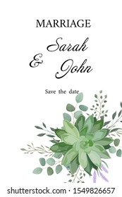 Wedding invitation with leaves eucalyptus and Succulent flowers, watercolor, isolated on white. Vector Watercolour.