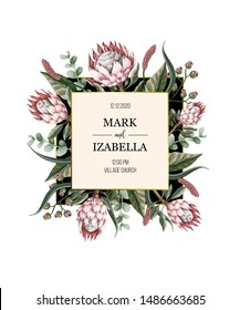 Wedding invitation with leaves, protea flowers, succulent and golden elements in watercolor style.