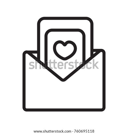 Wedding Invitation Letter Icon Outline Stock Vector Royalty Free