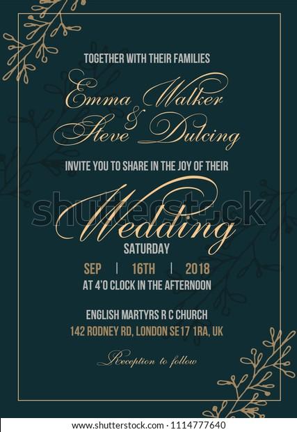 Wedding Invitation Letter Template Vector Illustration Stock