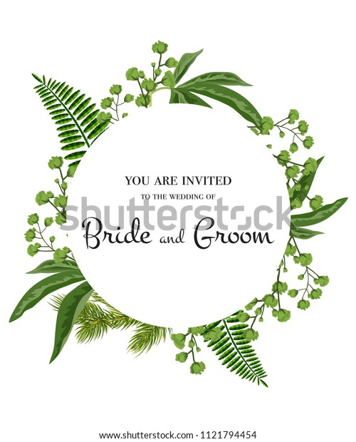 Wedding invitation. Lettering in circle with greenery on white background. Handwritten text, calligraphy. Party, event, celebration. Can be used for wedding card, flyer, brochure