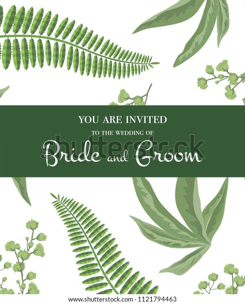 Wedding invitation. Lettering in green frame on greenery pattern. Party, event, celebration. Handwritten text, calligraphy. Can be used for wedding card, flyer, brochure