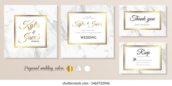 Wedding Invitation marble, thank you, rsvp card. Design with gold decorative frame print. Vector elegant and modern greeting, invite, postcard