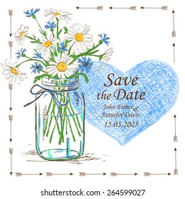 Wedding invitation with mason jar, camomile flowers and pencil heart. Save the date concept.