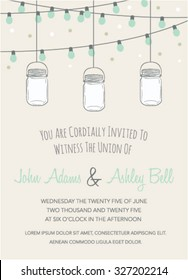 Wedding Invitation with Mason Jar and String Lights. Wedding Template Card in Vecotor. Wedding Template Card