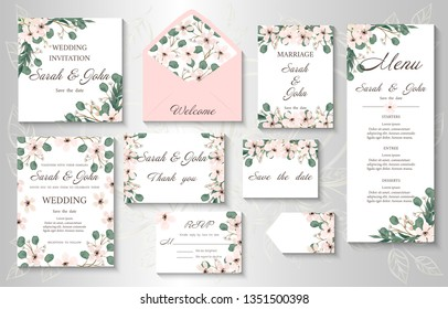Wedding invitation, menu, information, label, card design with  gently pink watercolor flowers. Template set. Vector illustration.
