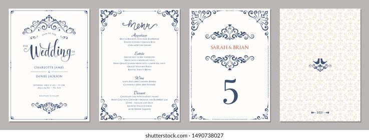 Wedding invitation, menu, table number and ornate background. Classic vintage design. Vector illustration