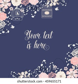 Wedding invitation navy blue and rose blush/ Flower element / Bird cage / Vector card