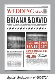 vintage newspaper journal wedding invitation vector stock vector