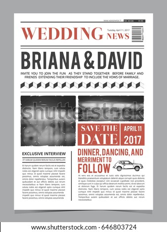 wedding invitation on newspaper front page のベクター画像素材