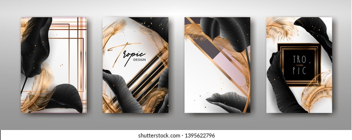 Wedding invitation with palm leaves, feathers, gold, marble template, artistic covers design, colorful texture, modern backgrounds.Trendy pattern, graphic brochure. Luxury Vector illustration