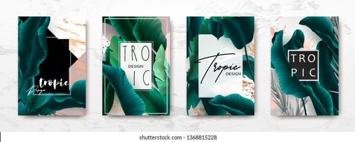Wedding invitation with palm leaves, gold, black, white marble template, artistic covers design, colorful texture, modern backgrounds.Trendy pattern, graphic gold brochure.Luxury Vector illustration