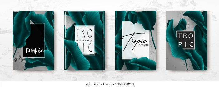 Wedding invitation with palm leaves, minimal black, white template, artistic covers design, colorful texture, modern backgrounds.Trendy pattern, graphic brochure.Luxury Vector illustration