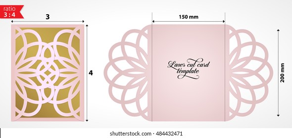 Wedding invitation pattern card. Template lace folds. Laser cut luxury card with swirls.  Vector cutting file for desktop plotter or laser cutting machine. Paper cutout laser lace crochet.