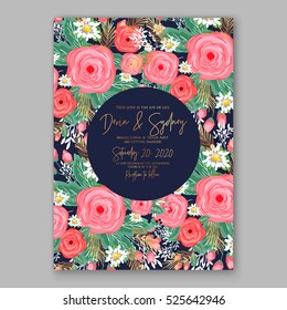 Wedding Invitation Printable Template With Floral Wreath Or Bouquet Of Rose Flower And Daisy Romantic Pink