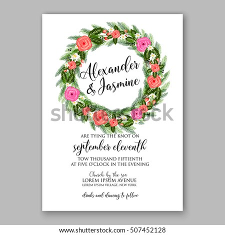 image about Printable Wreath Template titled Wedding day Invitation Printable Template Floral Wreath Inventory