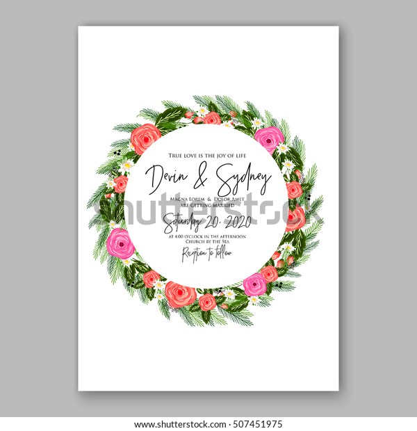 graphic about Printable Wreath Template titled Wedding day Invitation Printable Template Floral Wreath Inventory