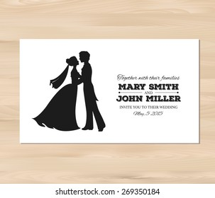 Wedding invitation with profile silhouettes of bride and groom. Card template on a wooden background. EPS 8 vector. Free fonts used: Nexa Rust, Alex Brush, Crimson