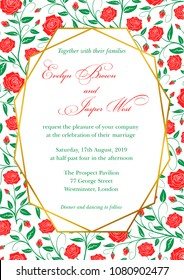 Wedding Invitation, red roses floral invite card Design with Geometrical art lines, green border, frame. Rustic style