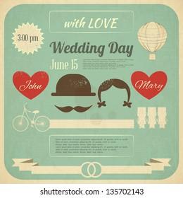 Wedding Invitation in Retro Infographics Style. Vintage Design, Square Format. Vector Illustration.