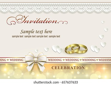 Wedding invitation with rings and ribbon with bow on ornamental background.Vector illustration