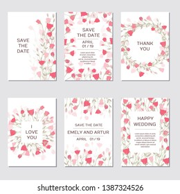 Wedding Invitation with rose eustoma. Romantic tender floral design for wedding invitation, save the date, I love you and thank you cards. Floral cards elegant templates wedding Invitation.