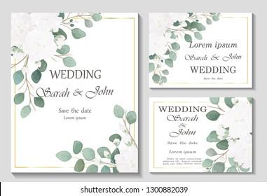 Hochzeitseinladung mit Rosenblume, Aquarell einzeln auf Weiß.  Vektorwasserfarbe.